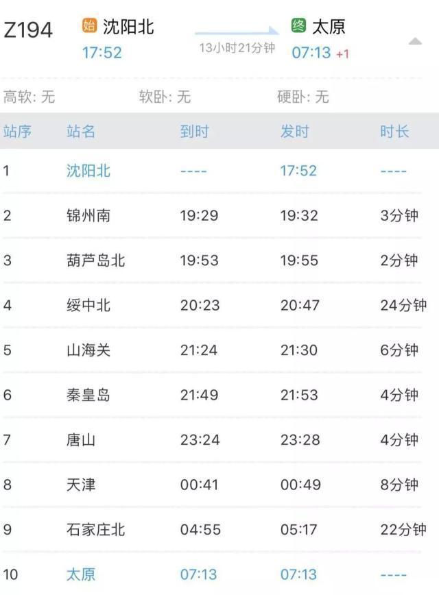 沈阳太原间Z194火车夕发朝至