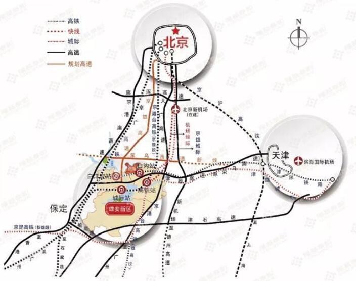 """雄安新区将构建""""四纵两横""""区域高速铁路交通网络"""